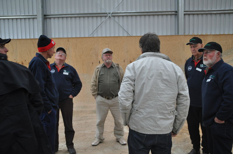 Inspecting a new grain storage shed, in the Canterbury Plains