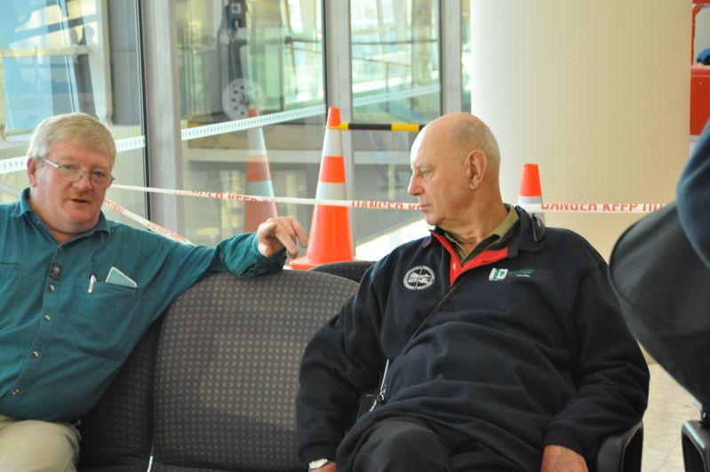 Waiting to go home at Christchurch Airport. Bob Callanan and Merv Zanker