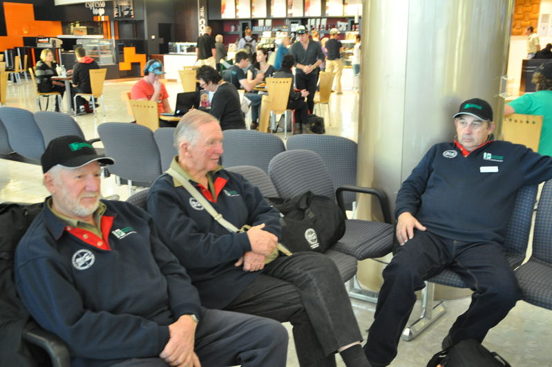 Waiting to go home at Christchurch Airport. Len Smyth, John Haydon and Geoff Allen