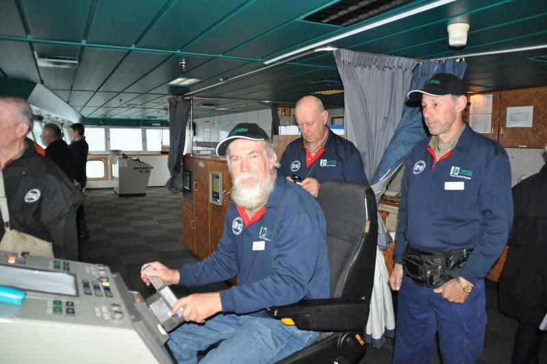 On the bridge of the inter island ferry NZ Graeme Jenkins, Merv Zanker & Stephen Quast