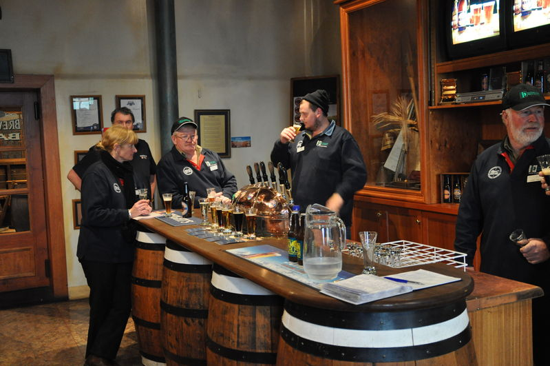 Speights Brewery, members helping themselves after the brewery tour. Lynette Jenkins, Bob Callanan, Justin Richards and Ed Edge