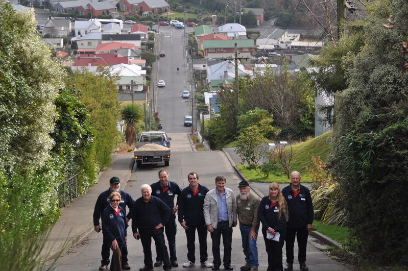 The steepest street in Invercargill, the fittest of the crew who made it to the top